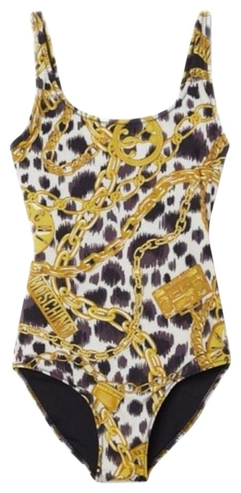 6f8f984c04 MOSCHINO [tv] H&M Black-gold One-piece Bathing Suit Size 6 (S) - Tradesy