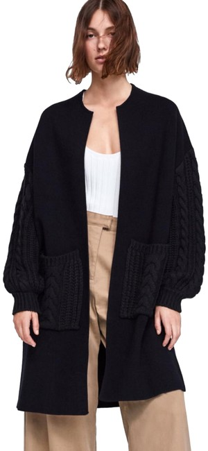 Item - Black With Cable Knit Coat Size 8 (M)