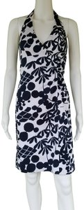 London Times short dress Black, white Stretch Cotton Blend Halter Floral And on Tradesy