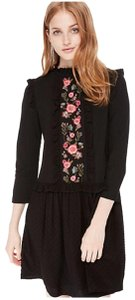 682e45fd0d9 Kate Spade short dress Black and Multi Color Swiss Dot Mixed Media Floral  Embroidered on Tradesy