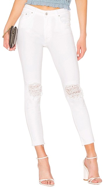 Item - White Distressed High Waist Looker Ankle Fray Lacey Skinny Jeans Size 8 (M, 29, 30)