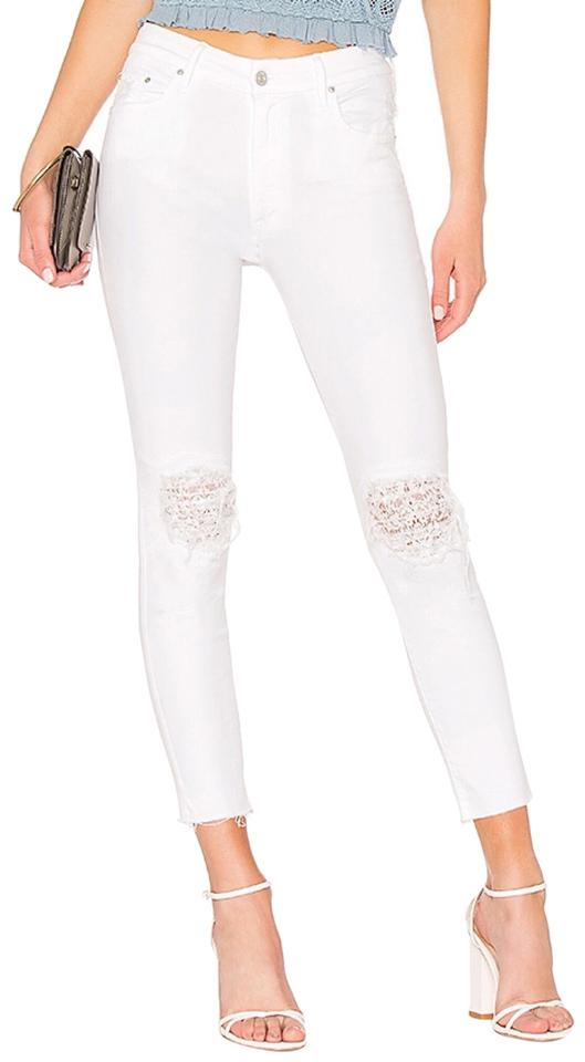 9e7b59506295f Mother White Distressed High Waist Looker Ankle Fray Lacey Skinny Jeans