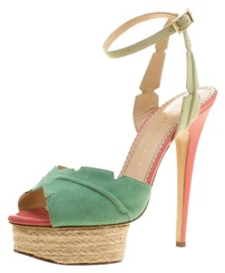 199b95ebfb1 Charlotte Olympia Suede Leather Espadrille Platform Green Sandals
