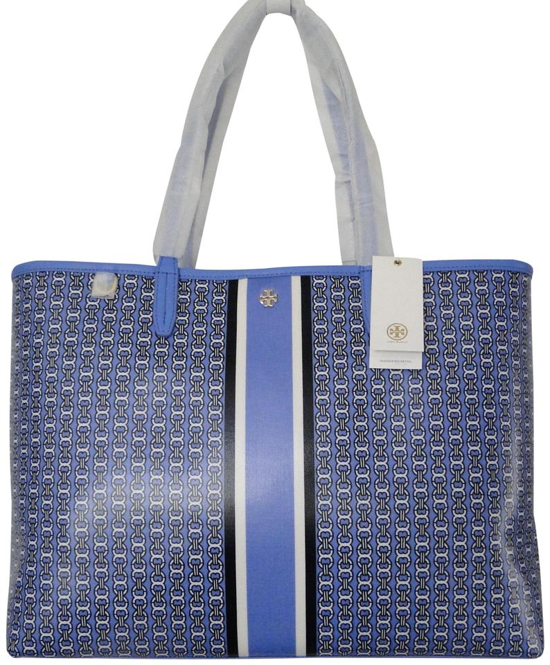 869d2076bb0 Tory Burch Gemini Link Large Coated Canvas Tote in Blue Dusk Image 0 ...