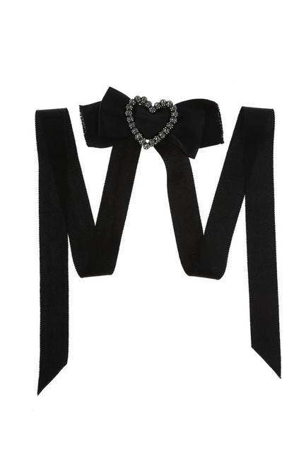 Item - Black Courtney Crystal-heart Brooch Collier Necklace