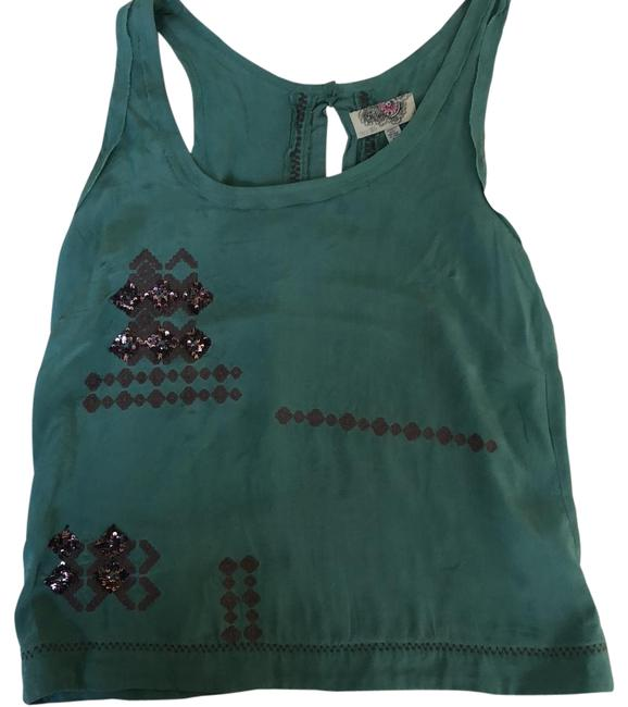Item - Green With Embellished Sequins Tank Top/Cami Size 8 (M)