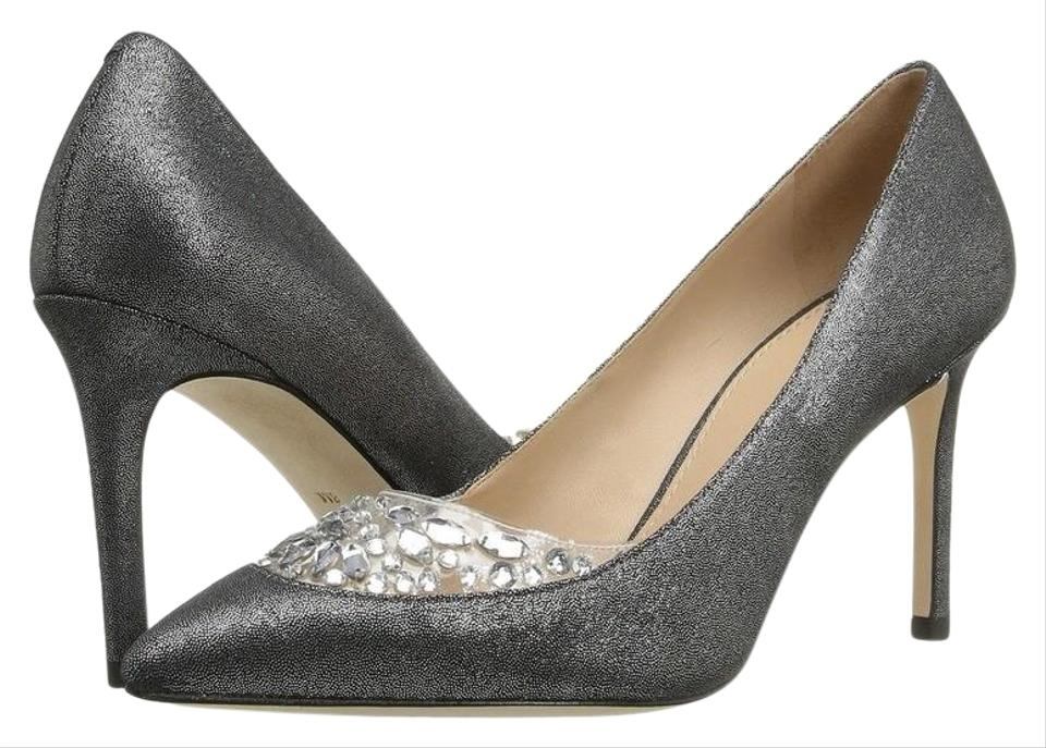50b10ba5052 Tory Burch Silver Black Pewter Delphine 85mm Pumps Size US 10 ...