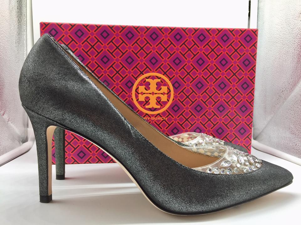 df0f33e5201 Tory Burch Silver Black Pewter Delphine 85mm Pumps Size US 10 Regular (M