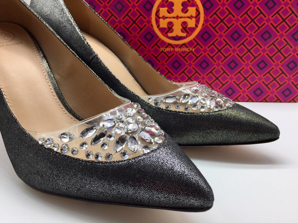 d50052a636b Tory Burch Formal Evening Crystal Heels Silver Black Pewter Pumps Image 11.  123456789101112