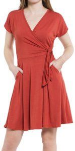 Daisy Del Sol short dress Brick Red Surplice V Neck on Tradesy