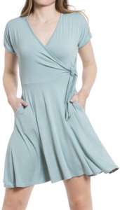 Daisy Del Sol short dress Slate Blue Wrap Surplice V Neck Jersey Knit on Tradesy