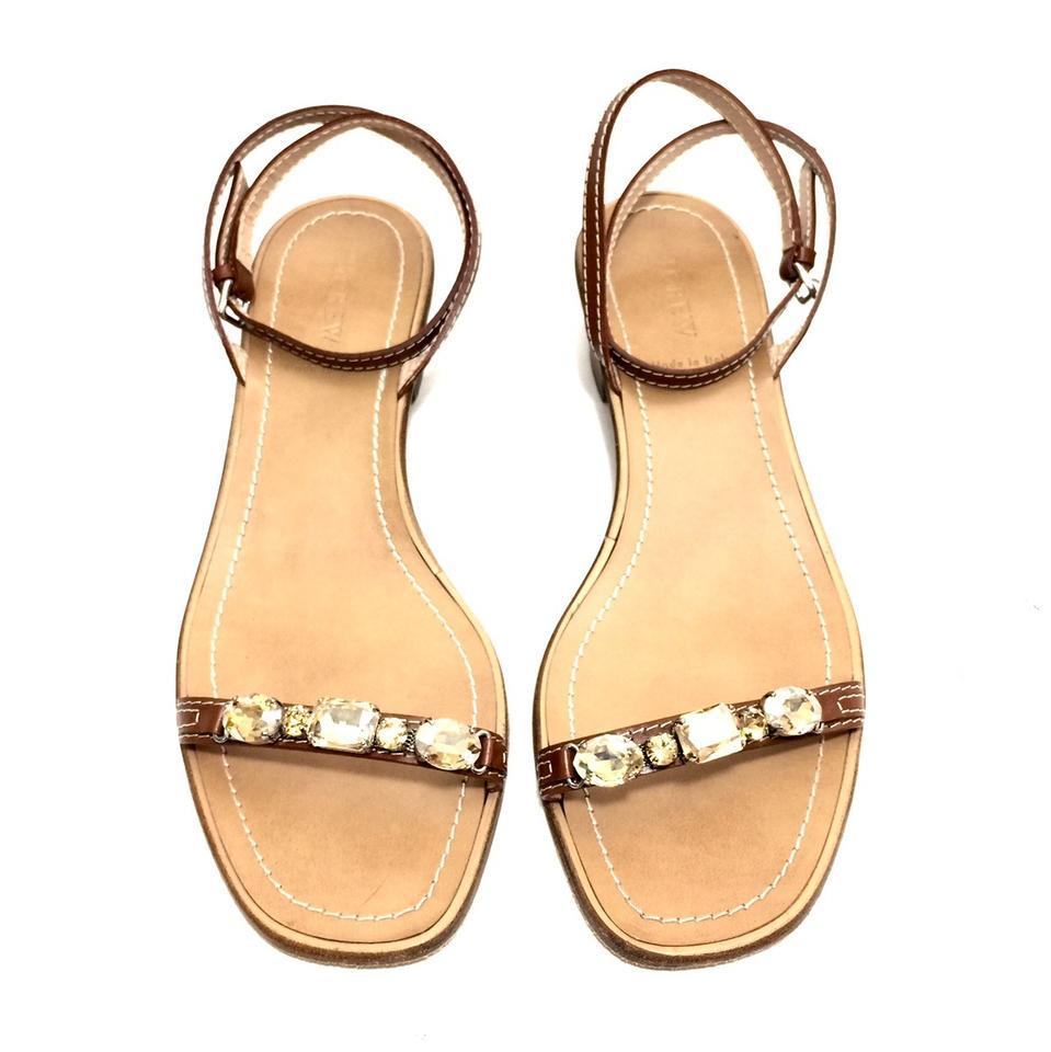 bbf2b9b400d4 J.Crew Cognac Brown Leather W  Rhinestones and Ankle Straps Sandals ...