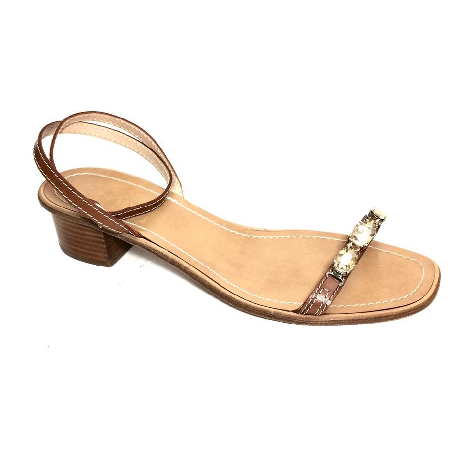 92cd50ac875c J.Crew Cognac Brown Leather W  Rhinestones and Ankle Straps Sandals Size US  10.5 Regular (M