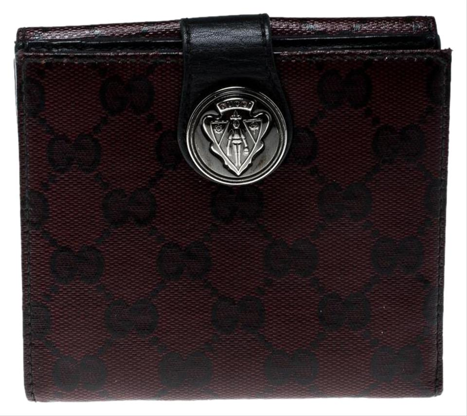 148dc309ca66 Gucci Burgundy GG Crystal Canvas Hysteria French Wallet Image 0 ...