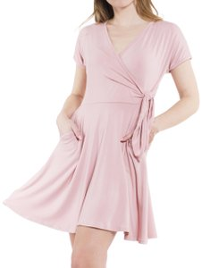 Daisy Del Sol short dress Dusty Pink Wrap Surplice V Neck Jersey Knit on Tradesy