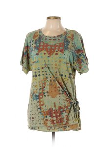 Color Me Cotton CLICK Geometric Graphic Ruched T Shirt Green