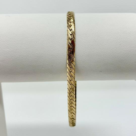 Other 14k Gold Diamond Cut Etched Herringbone Link Chain Bracelet 7.25