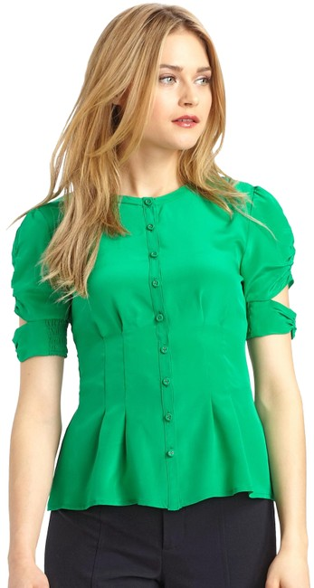 Preload https://img-static.tradesy.com/item/24928952/nanette-lepore-green-strutting-blouse-size-8-m-0-1-650-650.jpg