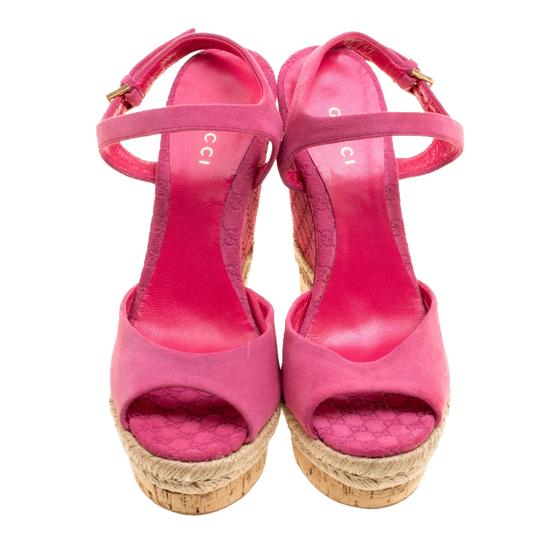 Gucci Suede Pink Wedges Image 1