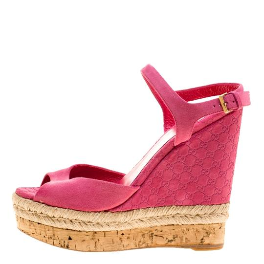 Gucci Suede Pink Wedges Image 4