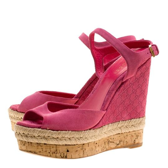 Gucci Suede Pink Wedges Image 5