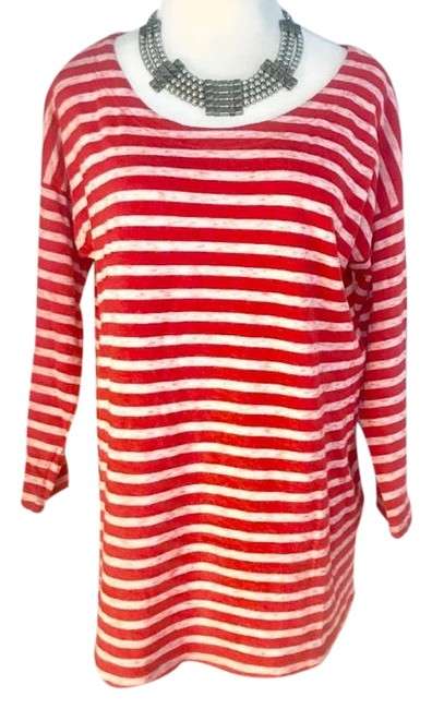 Preload https://img-static.tradesy.com/item/24928982/madewell-cotton-striped-red-medium-super-soft-34-sleeve-blouse-size-8-m-0-1-650-650.jpg