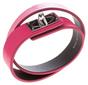 Givenchy Pink Leather Two Row Shark Bracelet M