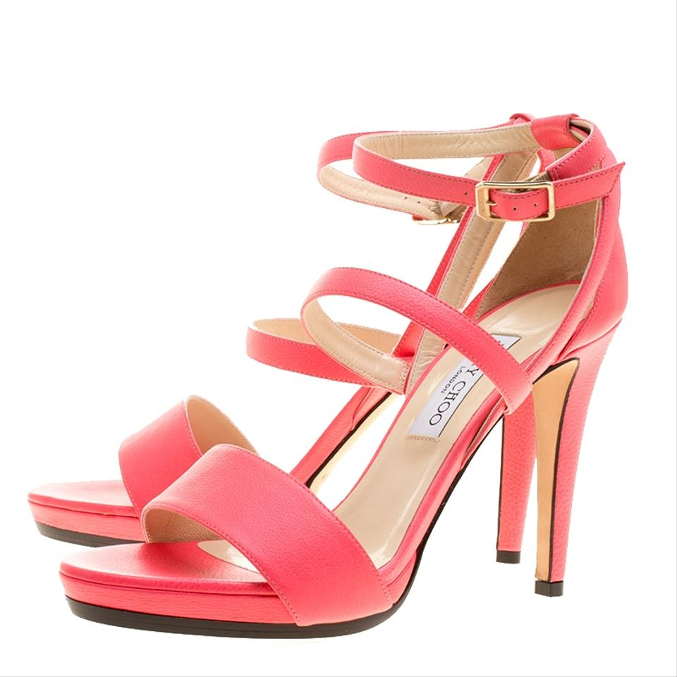 6149a5de831 Jimmy Choo Pink Leather Dose Ankle Strap Sandals Size EU 41 (Approx ...