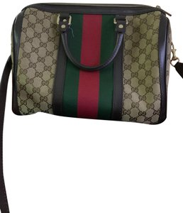 Gucci Satchel in Authentic Gucci Beige with Red and Green Web