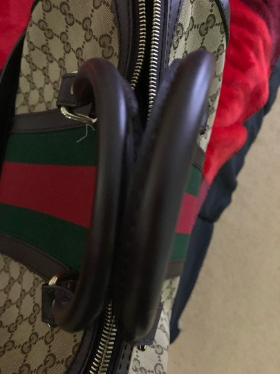 Gucci Satchel in Authentic Gucci Beige with Red and Green Web Image 3