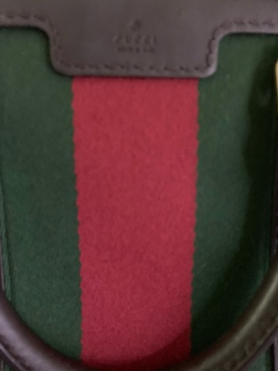 Gucci Satchel in Authentic Gucci Beige with Red and Green Web Image 4