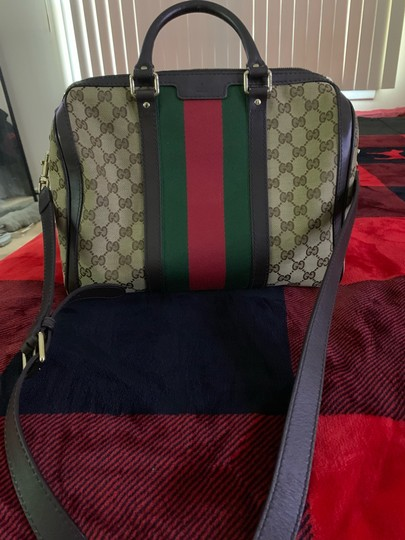 Gucci Satchel in Authentic Gucci Beige with Red and Green Web Image 5