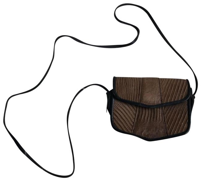 Item - Snake Embossed Black and Brown Leather Cross Body Bag