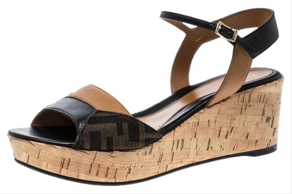 d4a7f8cd4af Fendi Brown Brown Black Zucca Canvas and Leather Sandals Wedges Size ...