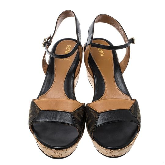 Fendi Canvas Leather Sandal Brown Wedges Image 1