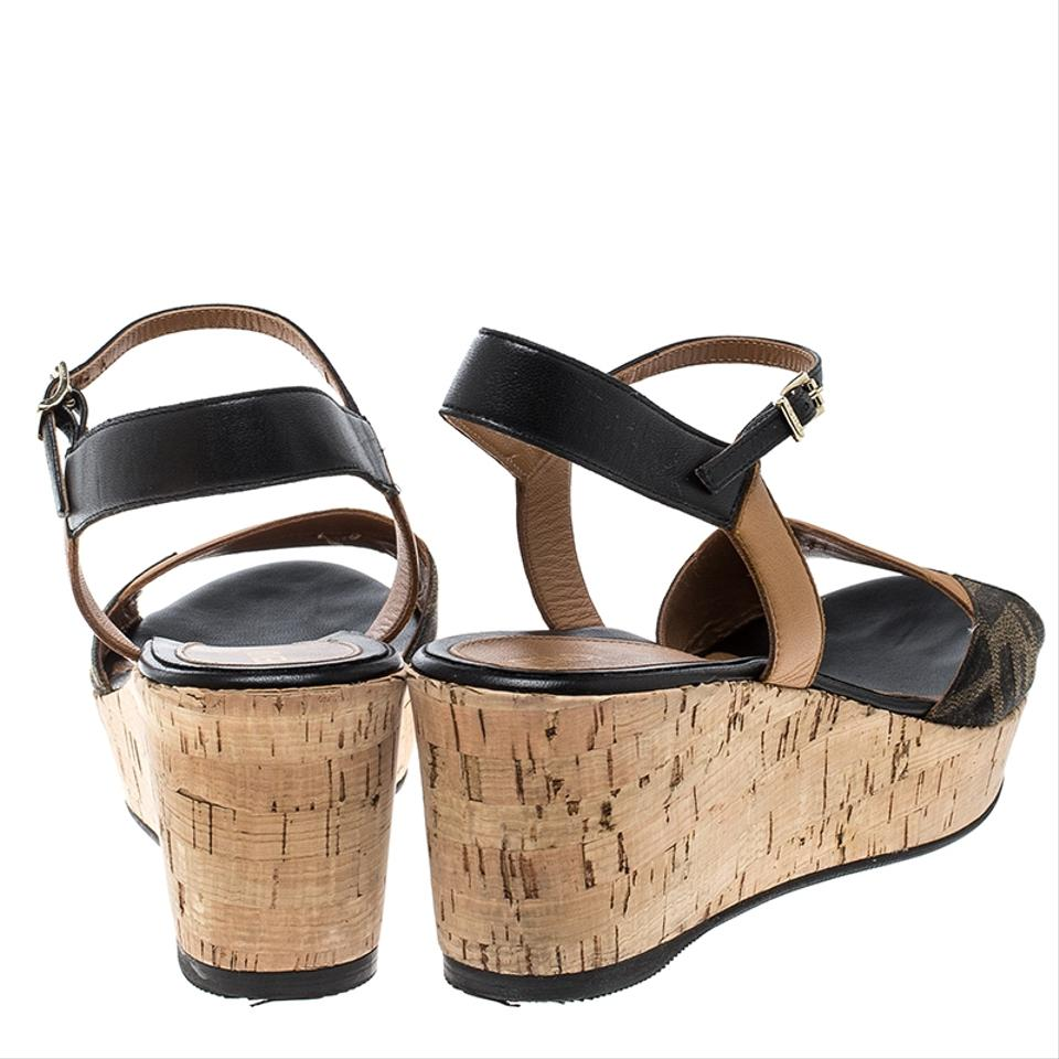 2682a8e2a95 Fendi Brown Brown Black Zucca Canvas and Leather Sandals Wedges Size EU 38  (Approx. US 8) Regular (M