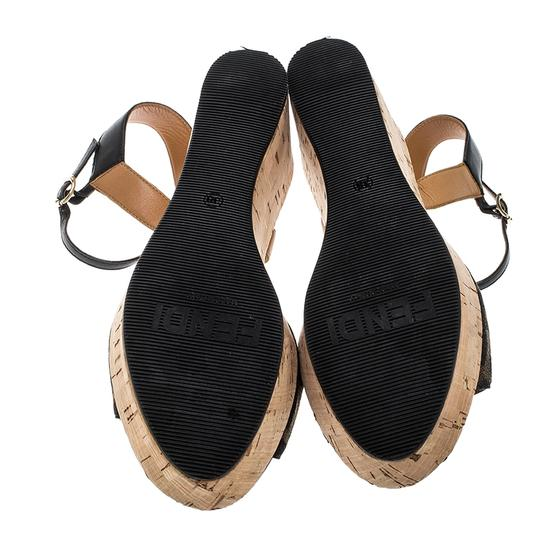 Fendi Canvas Leather Sandal Brown Wedges Image 3