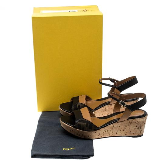 Fendi Canvas Leather Sandal Brown Wedges Image 7