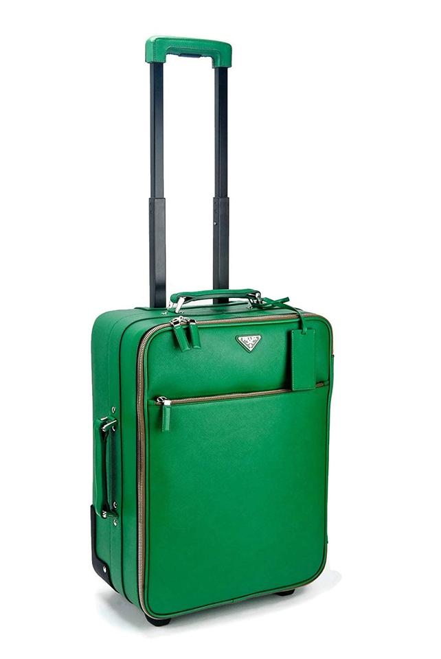 Prada Rolling Carry On Luggage Wardrobe Kelly Green Saffiano Leather Weekend Travel Bag 53 Off Retail