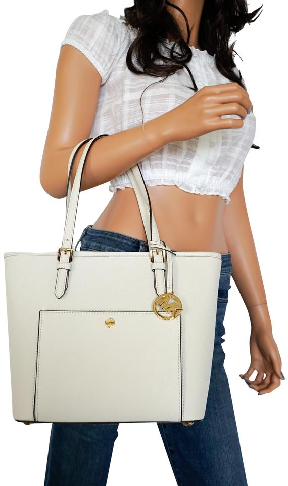 2e6c012b50a6 Michael Kors Jet Set Item Top Zip Sanp Pocket Vanilla Leather Tote ...