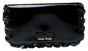 Miu Miu Black Patent Leather Ruffle Zip Around Wallet 910deba1b4d8