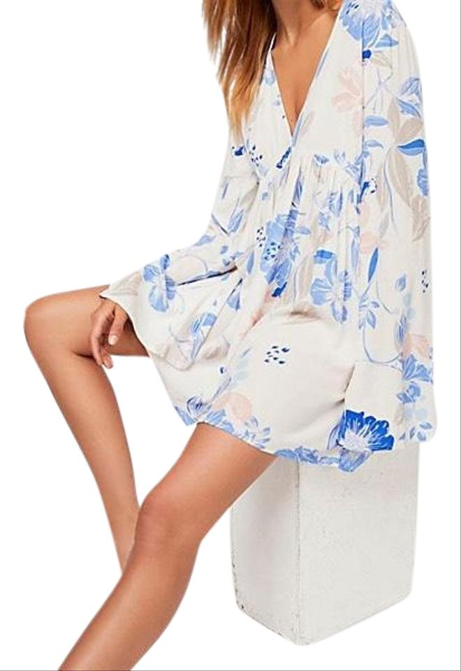 b3839d0ac70 Free People Off White Floral Bella Printed Tunic Short Casual Dress ...