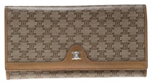 Céline Brown Coated Canvas Macadam Continental Wallet