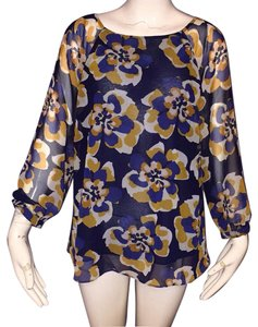 CAbi Top Blue and gold