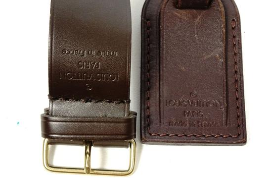 Louis Vuitton dark brown Leather Keepall Handbag Travel Bag Suitcase ID tag Strap Image 1
