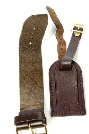 Louis Vuitton dark brown Leather Keepall Handbag Travel Bag Suitcase ID tag Strap Image 3