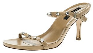 Sergio Rossi Leather Crystal Studded Ankle Strap Sandals