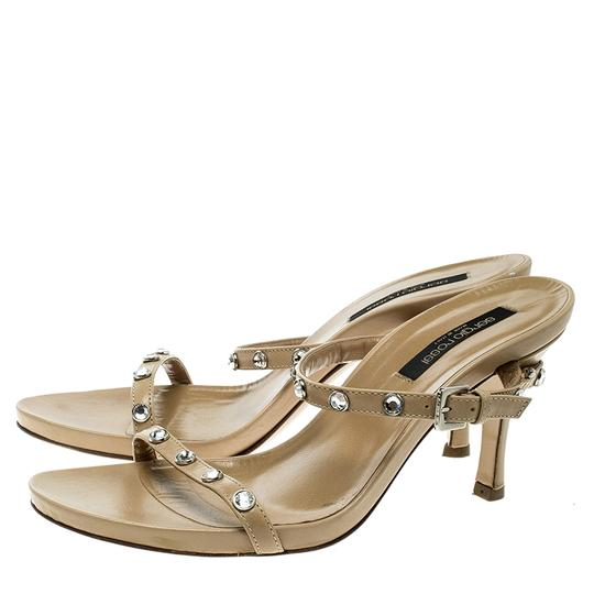 Sergio Rossi Leather Crystal Studded Ankle Strap Sandals Image 2