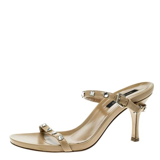 Sergio Rossi Leather Crystal Studded Ankle Strap Sandals Image 4