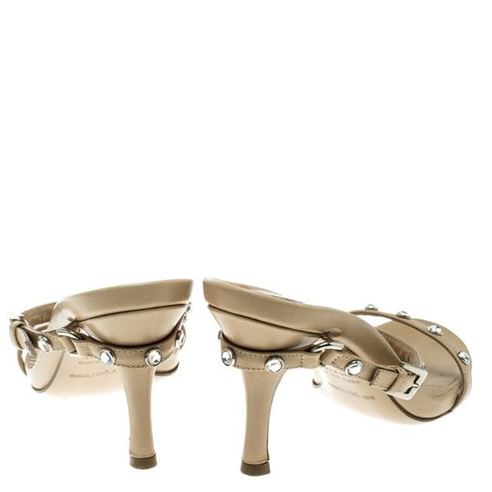 Sergio Rossi Leather Crystal Studded Ankle Strap Sandals Image 6